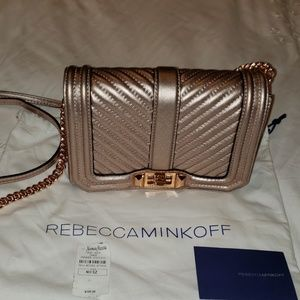 Rebecca Minkoff Leather  Rose Gold Crossbody Purse